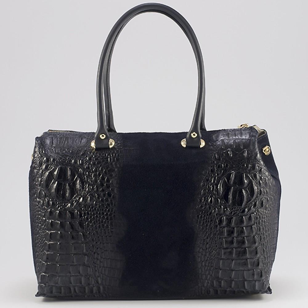 КОД : 0014 Дамска чанта от естествен велур с крокодилска щампа в тъмно син цвят