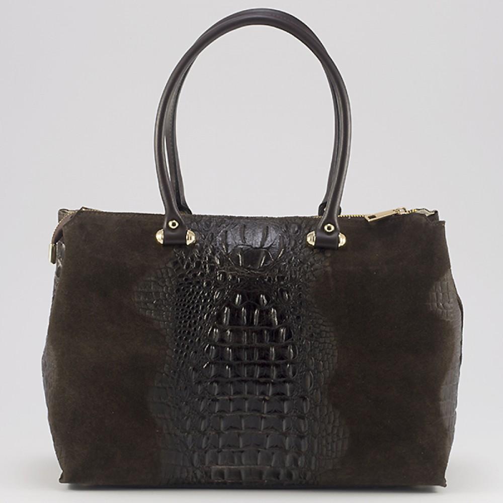 КОД : 0014 Дамска чанта от естествен велур с крокодилска щампа в тъмно кафяв цвят