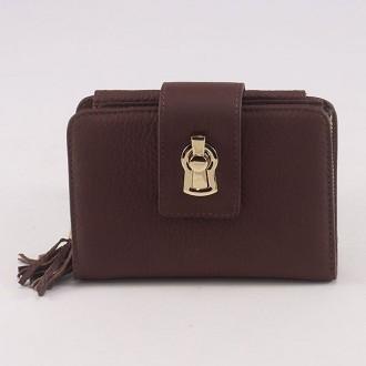 КОД : 1134 Дамски портфейл от естествена кожа в  кафяв цвят