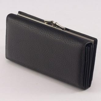 КОД : 1653 Дамски портфейл от естествена кожа в черен цвят