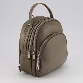 КОД : 0262 Дамска раница/чанта от естествена кожа в бледокафяв цвят