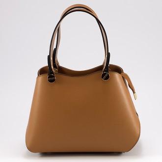 КОД : 0005 Дамска чанта от два вида естествена кожа в кафяво-оранжев цвят