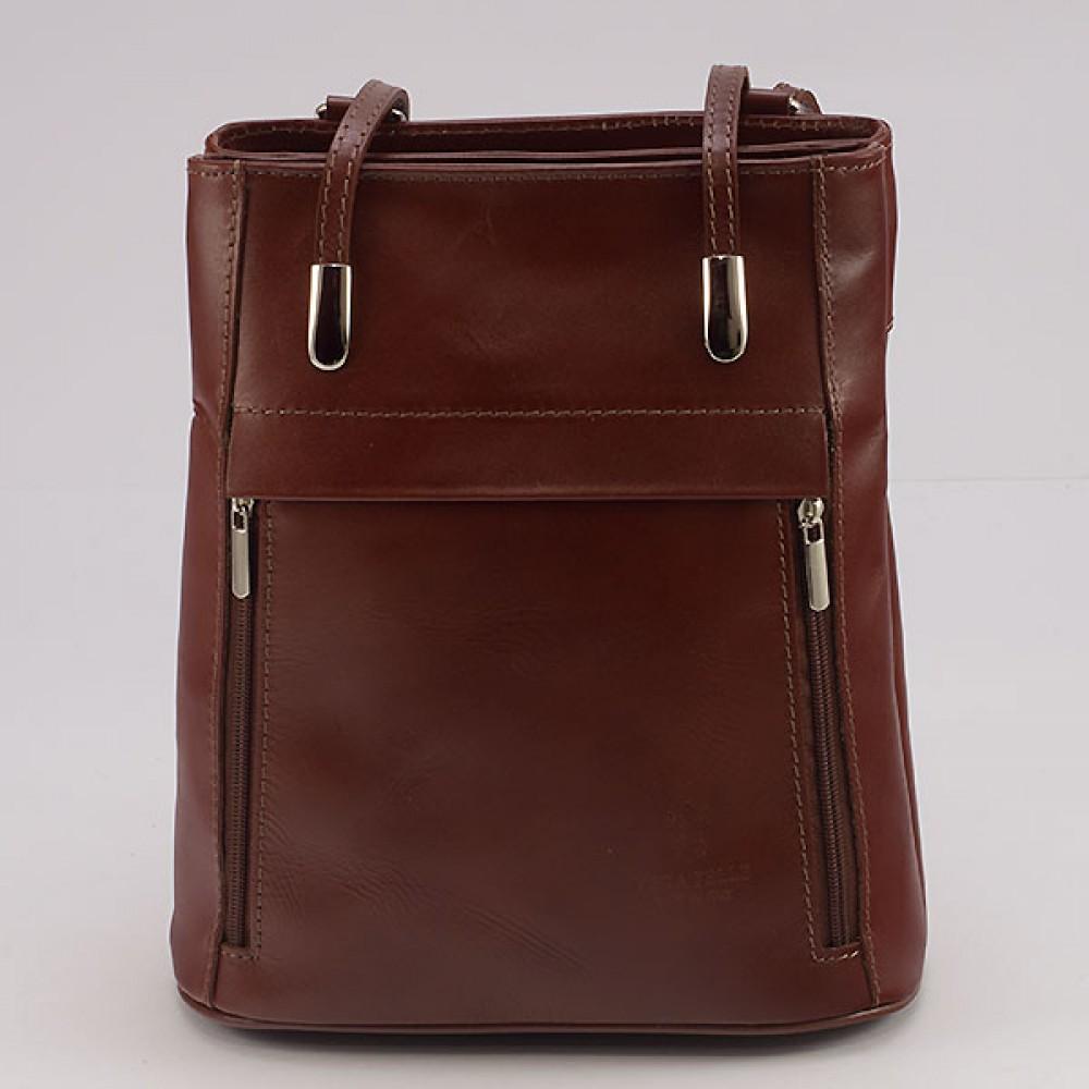 КОД : 0003 Дамска чанта / раница от естествена кожа в тъмнокафяв цвят