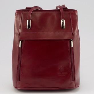 КОД : 0003 Дамска чанта / раница от естествена кожа в червен цвят