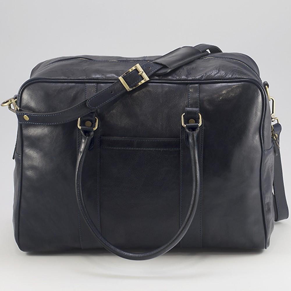КОД : 0072 Пътна чанта от плътна и висококачествена телешка кожа в син цвят