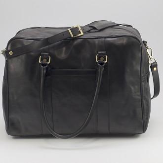 КОД : 0072 Пътна чанта от плътна и висококачествена телешка кожа в черен цвят