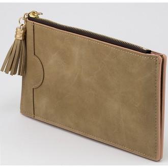 КОД : A079 Дамски портфейл от плътна и висококачествена еко кожа в бежов цвят