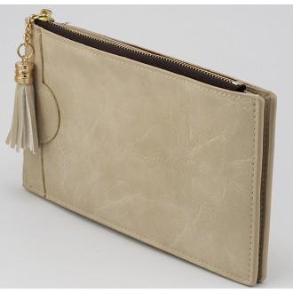 КОД : A079 Дамски портфейл от плътна и висококачествена еко кожа в цвят слонова кост