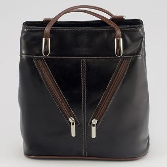 КОД : 0046 Дамска чанта / раница от естествена кожа в цвят черно с кафяво