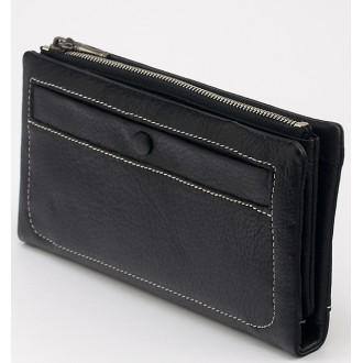 КОД : 1514 Дамски портфейл от естествена кожа в черен цвят