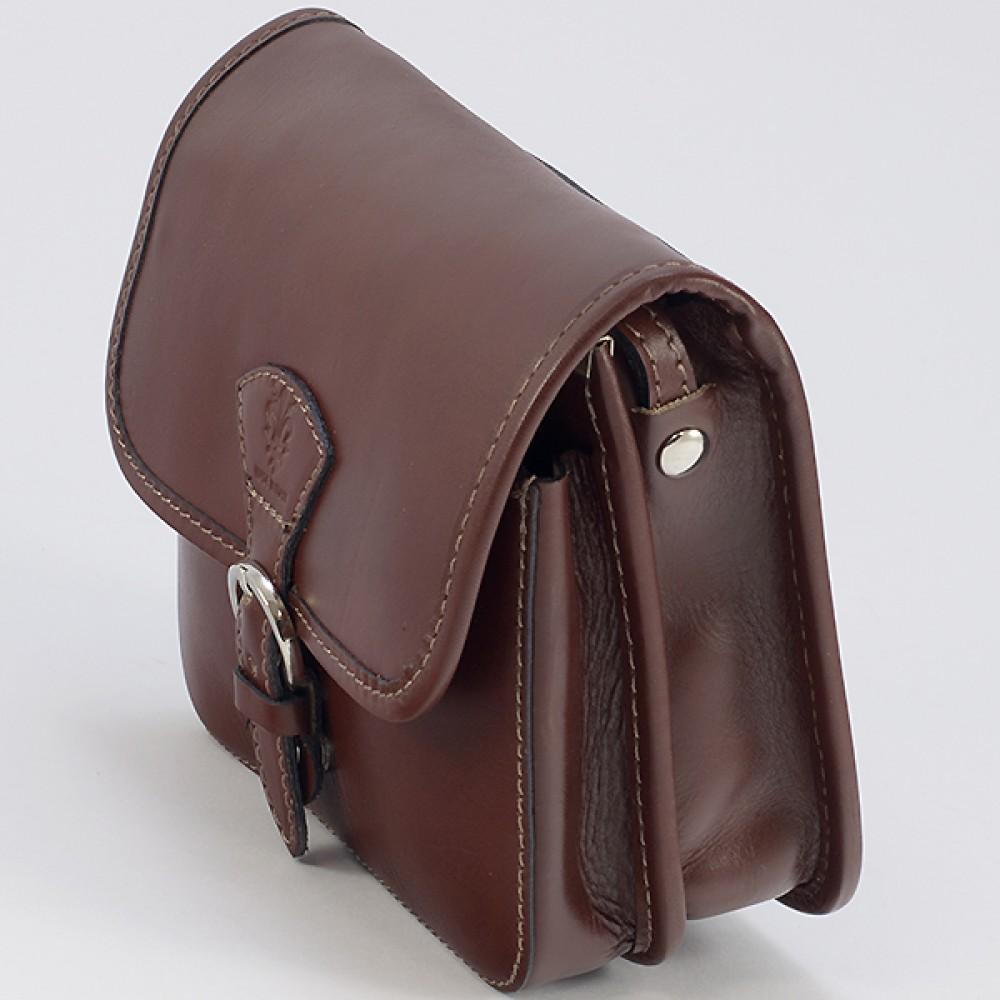 КОД : 0016 Малка дамска чанта от естествена кожа в цвят кафе
