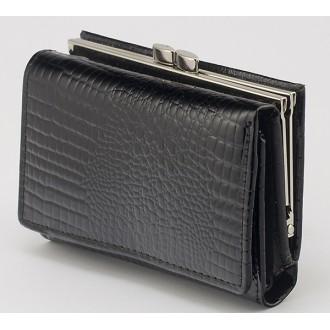 КОД : 30915 Дамски портфейл от естествена кожа със змийски принт и лаково покритие в черен цвят