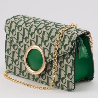 КОД : 3811 Малка дамска чанта/паласка от плътна и висококачествена еко кожа и плат в зелен цвят