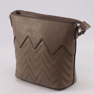КОД : 1904 Малка дамска чанта от плътна и висококачествена еко кожа в цвят каки