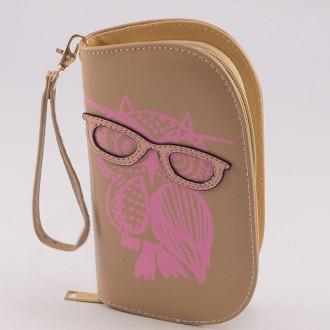 КОД : 0170 Дамски портфейл от плътна и висококачествена еко кожа в тъмнобежов цвят