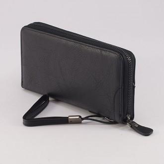 КОД : F512 Дамски портфейл от плътна и висококачествена еко кожа в черен цвят
