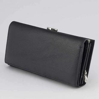 КОД : 1519 Дамски портфейл от естествена кожа в черен цвят