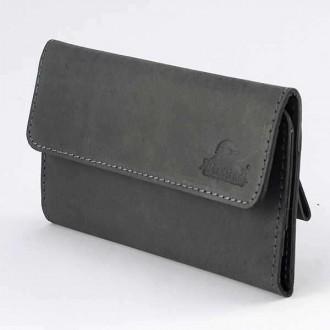 КОД : 0160 Дамски портфейл от телешка естествена кожа - набук в сив цвят
