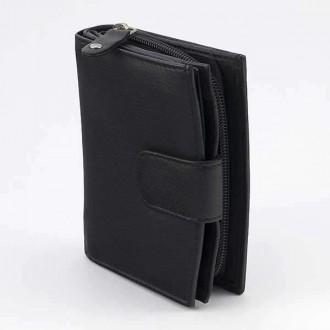 КОД : 0161 Дамски портфейл от естествена кожа в черен цвят