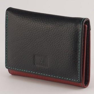 КОД: 413Дамски портфейл от естествена кожа в цвят черно/червено