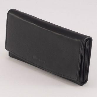 КОД : 20016 Дамски портфейл от естествена кожа в черен цвят