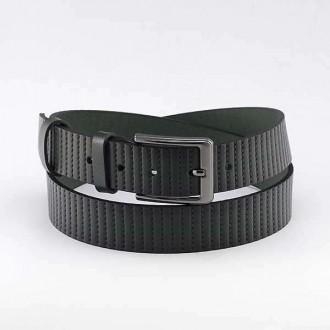 КОД : 0202 Мъжки колан от плътна и висококачествена - телешка естествена кожа 3,5 см в зелен цвят
