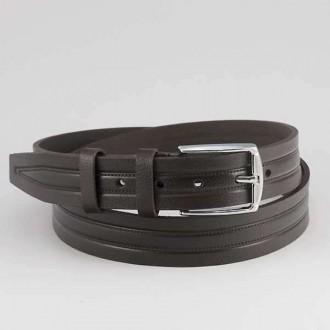 КОД : 0204 Мъжки колан от плътна и висококачествена - телешка естествена кожа 3,5 см в тъмно кафяв цвят