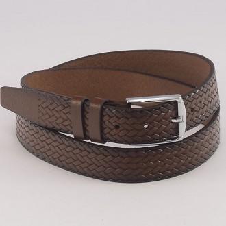 КОД : 0206 Мъжки колан от плътна и висококачествена - телешка естествена кожа 3,5 см в светлокафяв цвят