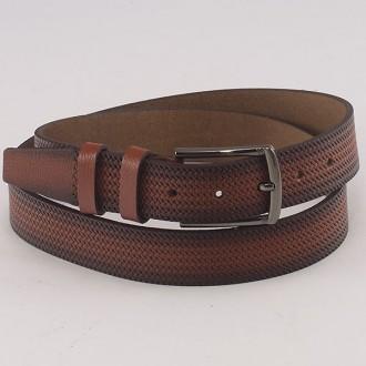 КОД: K9 Мъжки колан от плътна и висококачествена - телешка естествена кожа 3,5 см в светлокафяв цвят