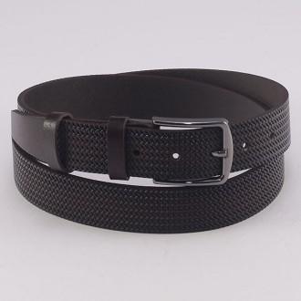 КОД: K9 Мъжки колан от плътна и висококачествена - телешка естествена кожа 3,5 см в тъмнокафяв цвят