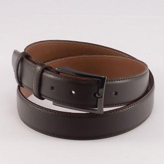 КОД : 0105 Мъжки колан от плътна и висококачествена - телешка естествена кожа 3,5 см в тъмнокафяв цвят