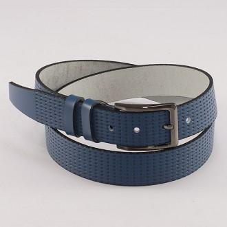 КОД : 0176 Мъжки колан от плътна и висококачествена - телешка естествена кожа 3,5 см в син цвят