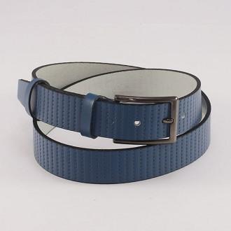 КОД : 0202 Мъжки колан от плътна и висококачествена - телешка естествена кожа 3,5 см в син цвят
