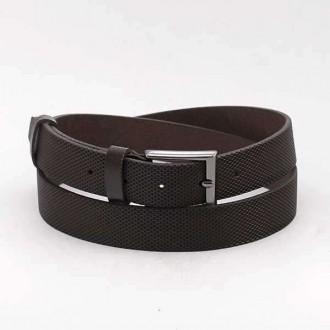 КОД: 0183 Мъжки колан от плътна и висококачествена - телешка естествена кожа 3 см в тъмнокафяв цвят