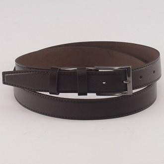 КОД: K8 Мъжки колан от плътна и висококачествена - телешка естествена кожа 3 см в тъмнокафяв цвят