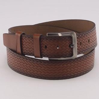 КОД : 0216 Мъжки колан от плътна и висококачествена - телешка естествена кожа 4,5 см в светлокафяв цвят