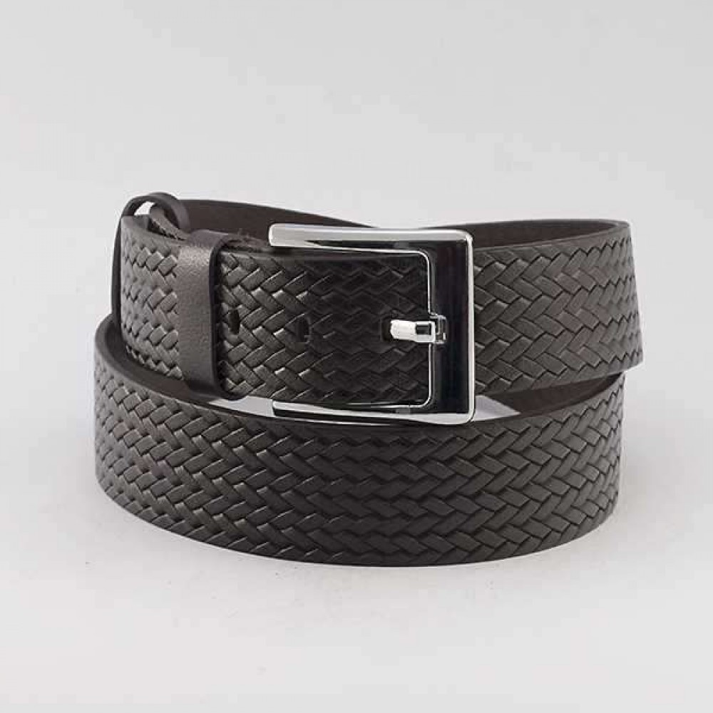 КОД : 0216 Мъжки колан от плътна и висококачествена - телешка естествена кожа 4,5 см в тъмнокафяв цвят
