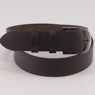 КОД: K2 Мъжки колан от плътна и висококачествена - телешка естествена кожа 4,5 см в тъмнокафяв цвят