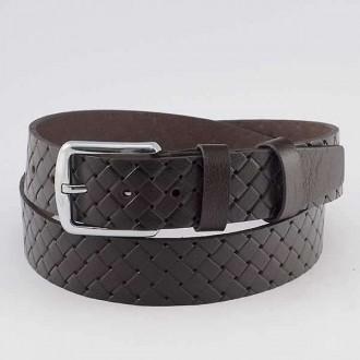 КОД : 0109 Мъжки колан от плътна и висококачествена - телешка естествена кожа 4 см в кафяв цвят