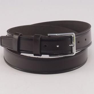 КОД : 0215 Мъжки колан от плътна и висококачествена - телешка естествена кожа 4 см в тъмнокафяв цвят