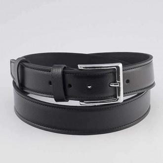 КОД : 0215 Мъжки колан от плътна и висококачествена - телешка естествена кожа 4 см в черен цвят