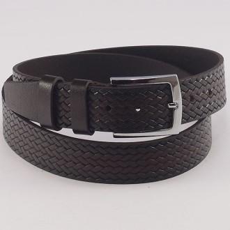 КОД : K10 Мъжки колан от плътна и висококачествена - телешка естествена кожа 4 см в тъмнокафяв цвят