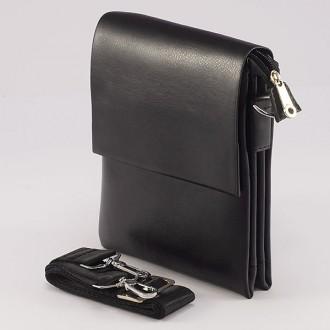 КОД: 70023  Мъжка чанта от плътна и висококачествена еко кожа в черен цвят - голям размер
