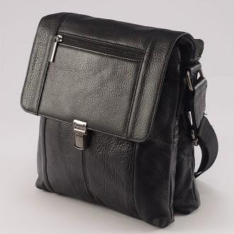 КОД : 06022  Мъжка чанта от естествена кожа в черен цвят