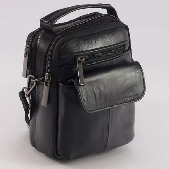 КОД : 336  Мъжка чанта от естествена кожа в черен цвят