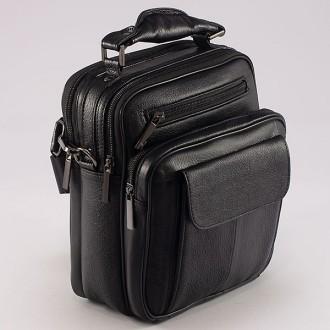 КОД : 1008  Мъжка чанта от естествена кожа в черен цвят
