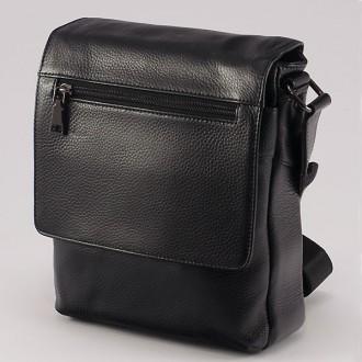 КОД: 508 Мъжка чанта от естествена кожа в черен цвят