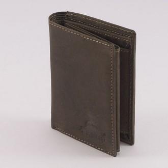 КОД : 0165 Мъжки портфейл от естествена кожа в кафявo-зелен цвят WoodLand