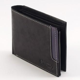 КОД : 0186 Мъжки портфейл от естествена кожа в цвят черно с лилаво Rinaldo
