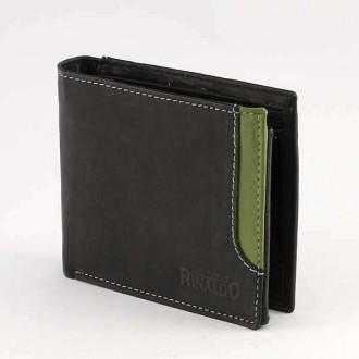 КОД : 0186 Мъжки портфейл от естествена кожа в цвят черно със зелено Rinaldo